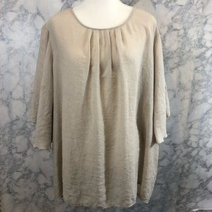 Cream Colored Bell Sleeve Blouse CJ Banks Sz 3X